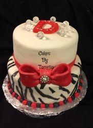 Red Black and White Zebra  Print Cake