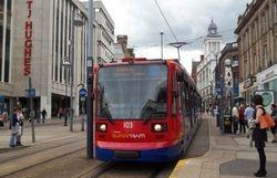 Supertram 103 arriving at Castle Square