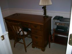 ANTIQUE WOODEN WRITING DESK WESTERN ELECTRIC STICK PHONE CONVERTED TO LAMP, PRINTER COPIER