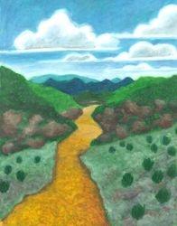 Seeded Waterway, Oil Pastel, 11x14, Original Sold