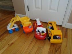 Little Tikes Toddle Tots Vintage Dump Truck, Backhoe, Bus, Fire Truck - $35