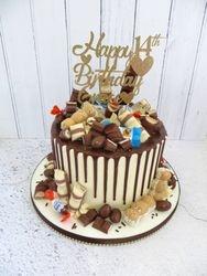 Kinder themed Birthday Drip Cake
