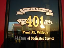 4-51 is dedicated to former Chief Paul Wilcox