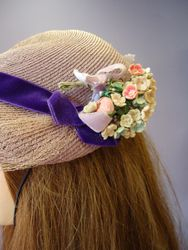 Vintage Lavender with Velvet Ribbon & Flowers Close Up