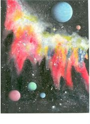 Multi-Colored Nebula and Planets