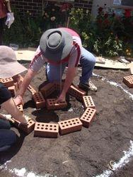 Starting to lay the bricks
