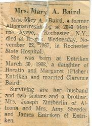 Baird, Mary A. Entriken 1967