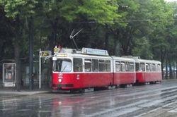 SGP built E2 tram and trailer on Dr. Karl Lueger Ring.