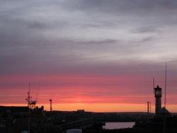 Kirkwall harbour at sunset
