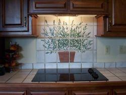lavander tile backsplash