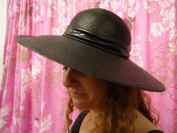 Vintage Black Straw with Leather Band/Audrey
