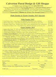 Palm Sunday/Easter form 2015