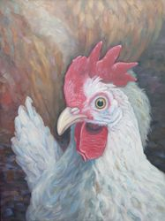 Serious Chicken, oil on panel, 25 x 19""