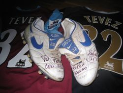 Worn, personalised and signed Carlos Tevez boots