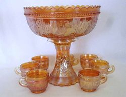 Stork and Rushes punch set, marigold