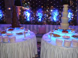 Twin 5 tier chocolate fountain hire with white and milk chocolate