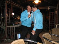 Steve and Tommy singing in Tiki Bar