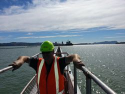 Ron going to Golden Bay Cement Ship