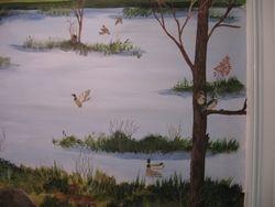 Wood Ducks nesting in trees, mallards flying in