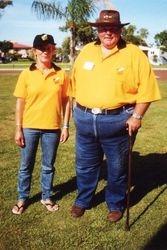Sonya & Tom, the smallest & the biggest AGM Shirts at the 1998 AGM Bunbury - Mar 1998 - Mar 1998
