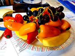 Sweet Peppers, Mango and Grapes