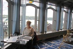 Lynda in Chateau Frontenac for lunch
