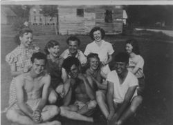 Front Deering Manning, Bryan Morris, Sylvia Harris, Arden Williams  Back Velma Smithwick, Alice Clayton, Floyd Manning, Dorothy Davis, Annie Mae Gibbs 1947 In front of Ponzer Store and Post office. McCoy Ainsleys house in background