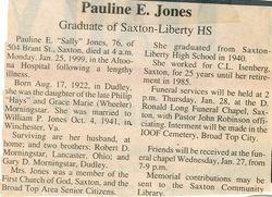 Jones, Pauline E. Morningstar 1999