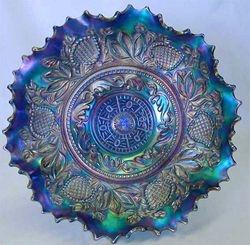 Fanciful low ruffled bowl, blue