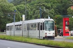 A Duewag M-Type tram entering Poststrasse, en route to the Bergheim District