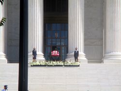 View of Casket Guarded by Clerks at West Façade of US Supreme Court Building from West During Lying in Repose of Associate Supreme Court Justice Ruth Bader Ginsburg