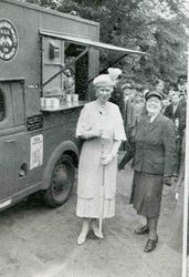 Queen Mary having tea at YMCA Tea Van