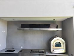 2 meter rangehood suspended from wall with external wall vents
