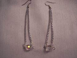 crystal and chain dangle earrings