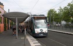 "Siemens Combino no. 407 ""Basel"", at the Hauptbahnhof."