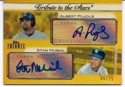 2011 Topps Tribute Albert Pujols/Stan Musial Auto 6/25 Numbered To Musial's Number 6
