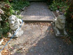 pair of cement lions