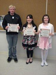 Grade 6,7,&8 Winners April, 2013