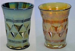 Banded Diamonds tumblers in purple and marigold