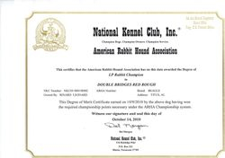 Red's Champion Certificate