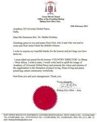 BISHOP ERIC OFORI ATTA's( From GHANA) Gratitude Letter