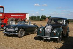 Austin Healey 3000 and Morris 8 vintage cars