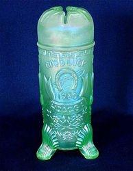 1980 HOACGA Good Luck hatpin holder, ice green