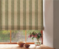 STRIPE CORDLESS ROMAN SHADE WITH BLACKOUT LINING