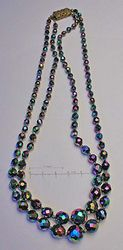 double strand necklace, graduated, knotted