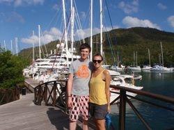 Backy and Jono in Marigot Bay marina