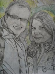 Stu and Gemma, NY B/W and coloured pencil drawing