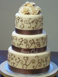 Brown and Ivory wedding cake 2