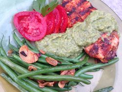 Putting the Green Salsa to work! With spice-rubbed chicken and French Green Beans with Garlic Chips