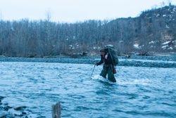 Kaasan wading the river